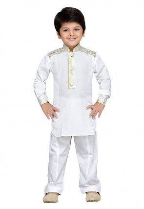 Printed Cotton Kurta Set in White