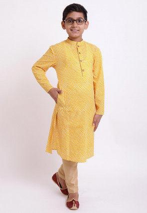Printed Cotton Kurta Set in Yellow