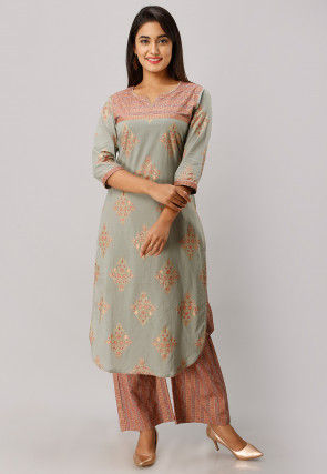 Printed Cotton Kurta with Palazzo in Dusty Green