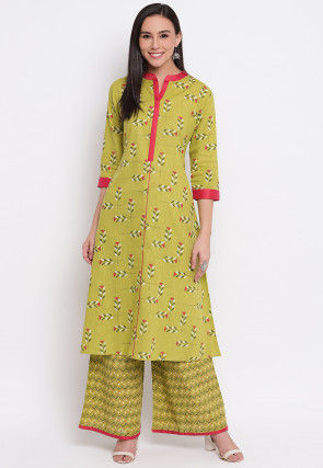 Printed Cotton Kurta with Palazzo in Light Olive Green
