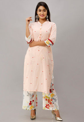 Printed Cotton Kurta with Palazzo in Light Peach
