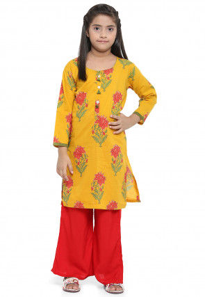 Printed Cotton Kurta with Palazzo in Mustard