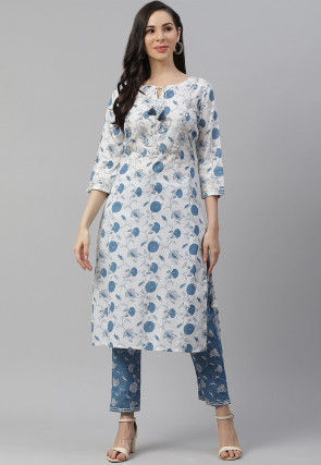 Printed Cotton Kurta with Palazzo in Off White and Blue