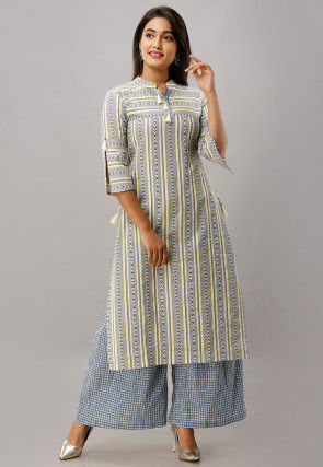 Printed Cotton Kurta with Palazzo in Off White and Grey