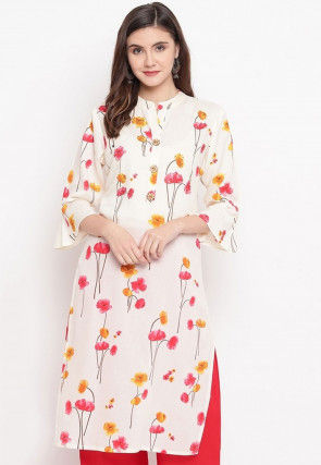 Printed Cotton Kurta with Palazzo in Off White