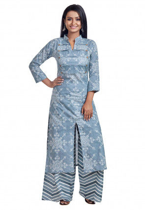 Printed Cotton Kurta with Palazzo in Pastel Blue