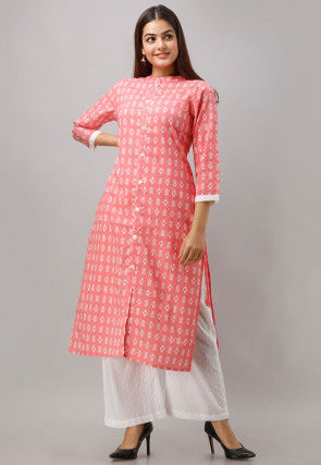 Printed Cotton Kurta with Palazzo in Peach