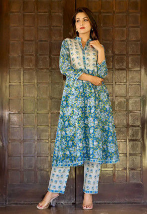 Printed Cotton Kurta with Pant in Blue