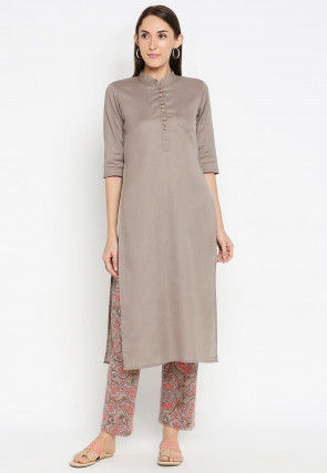 Printed Cotton Kurta with Pant in Fawn