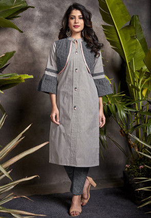 Printed Cotton Kurta with Pant in Grey