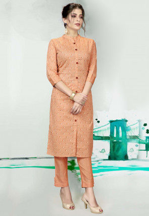 Printed Cotton Kurta with Pant in Light Orange