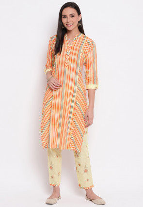 Printed Cotton Kurta with Pant in Multicolor