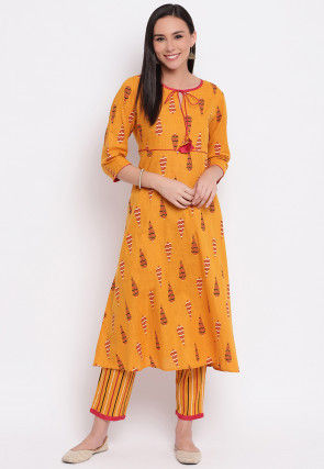Printed Cotton Kurta with Pant in Mustard