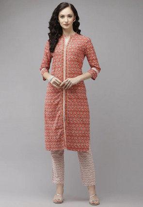 Printed Cotton Kurta with Pant in Orange