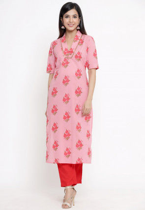 Printed Cotton Kurta with Pant in Pink