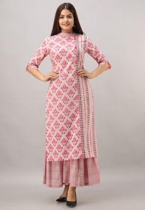 Printed Cotton Kurta with Sharara in Pink