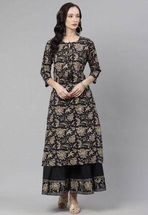 Printed Cotton Kurta with Skirt in Black
