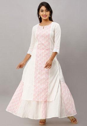 Printed Cotton Kurta with Skirt in White