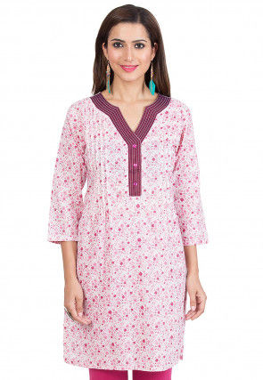 Printed Cotton Kurti in Off White and Pink