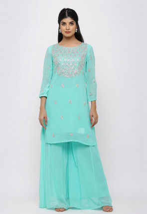 Printed Cotton Kurti in Pastel Blue and Multicolor