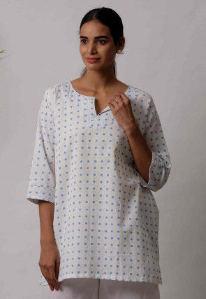 Printed Cotton Kurti in White