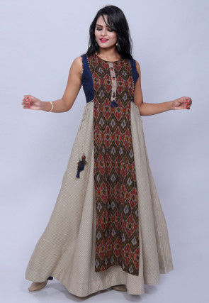 Printed Cotton Layered Gown in Cream and Multicolor