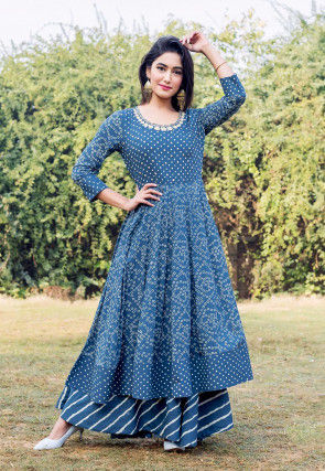 Printed Cotton Layered Gown in Dark Blue