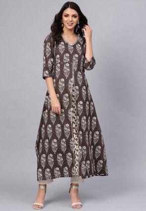 Printed Cotton Layered Kurta in Brown