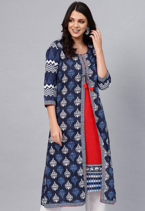 Printed Cotton Layered Kurta in Navy Blue and Red