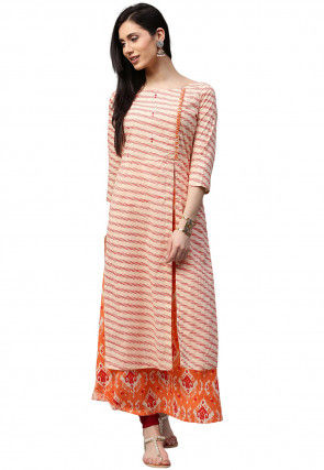 Printed Cotton Layered Long Kurta in Pastel Orange