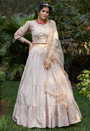 Printed Cotton Lehenga in Light Grey