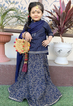 Printed Cotton Lehenga in Navy Blue