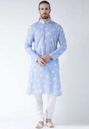 Printed Cotton Linen Kurta Set in Sky Blue