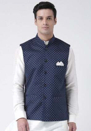 Printed Cotton Linen Nehru Jacket in Navy Blue
