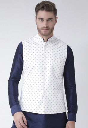 Printed Cotton Linen Nehru Jacket in White