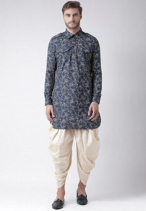Printed Cotton Linen Paithani Suit in Navy Blue
