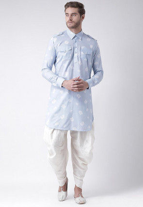 Printed Cotton Linen Paithani Suit in Pastel Blue