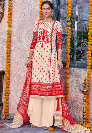 Printed Cotton Linen Pakistani Suit in Cream and Red