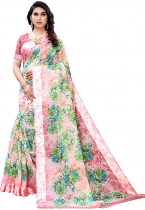 Printed Cotton Linen Saree in Baby Pink