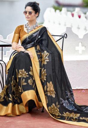 Printed Cotton Linen Saree in Black