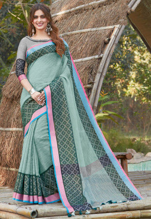 Printed Cotton Linen Saree in Dusty Green