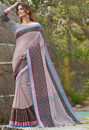Printed Cotton Linen Saree in Dusty Old Rose