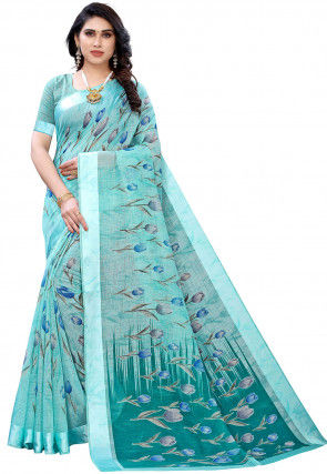 Printed Cotton Linen Saree in Light Blue