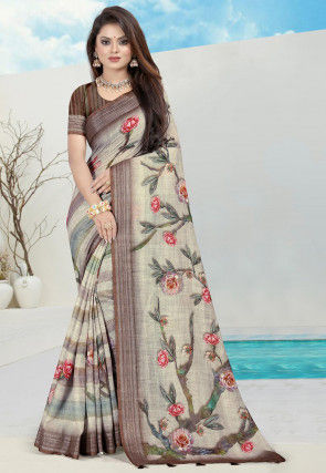 Printed Cotton Linen Saree in Light Fawn