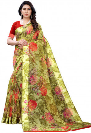 Printed Cotton Linen Saree in Light Green