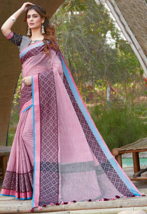 Printed Cotton Linen Saree in Light Pink
