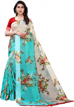 Printed Cotton Linen Saree in Off White and Turquoise