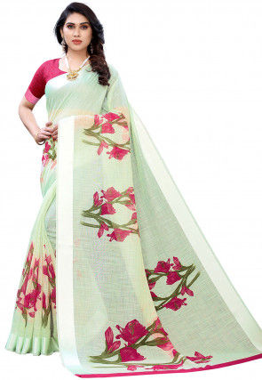 Printed Cotton Linen Saree in Pastel Green