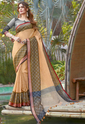 Printed Cotton Linen Saree in Pastel Orange