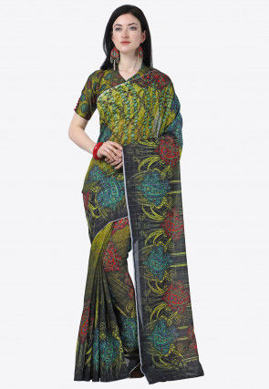 Printed Cotton Linen Saree in Shaded Green and Black